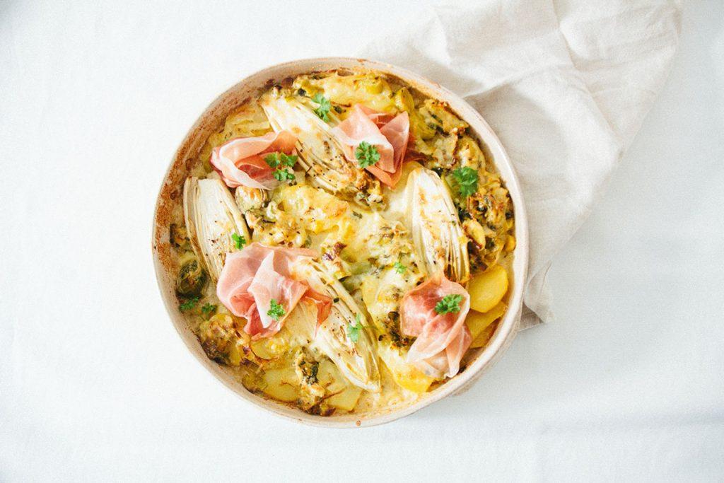Chicoree Kartoffel Auflauf mit Rohschinken